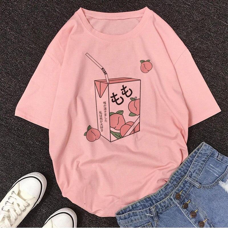 Dibujos Animados jugo de melocotón Japanses estética Grunge camiseta mujeres Harajuku lindo Kawaii Rosa verano Casual Tumblr traje moda Tops