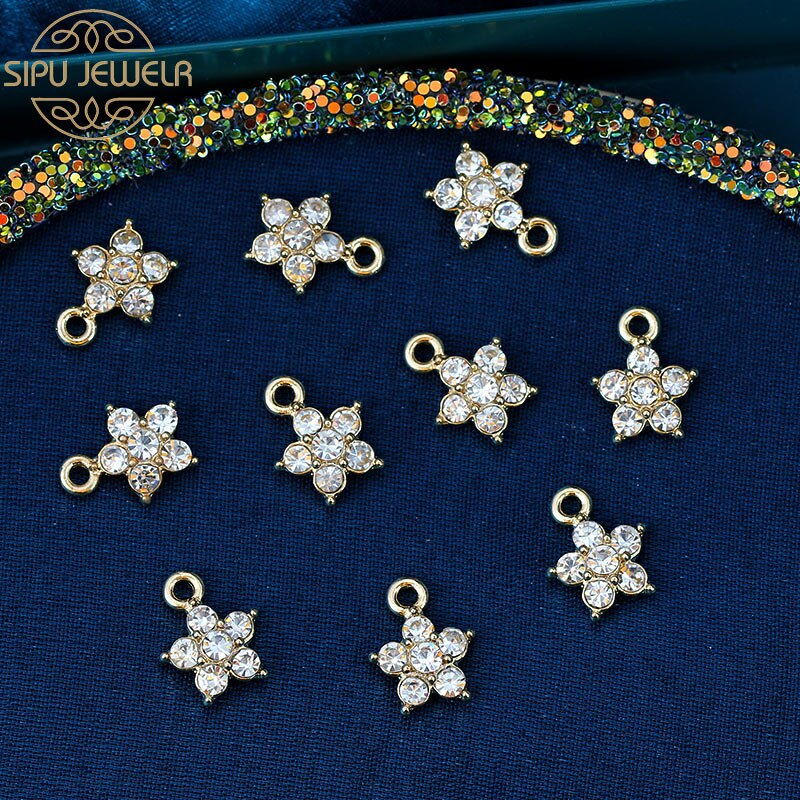 10Pcs Crystal/Alloy Star Charms 14*11mm Gold Color Metal Flowers Pendant Wholesale For DIY Earrings Jewelry Making Accessories недорого