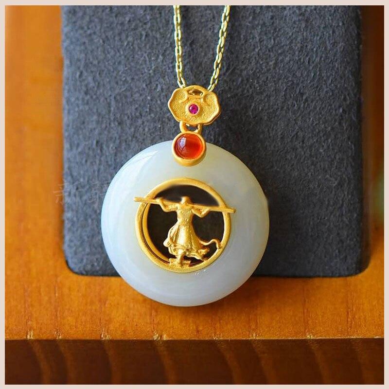 Collar con colgante Natural de Jade Monkey King de Hetian, joyería de moda de plata 925, amuleto de Calcedonia, regalos para mujeres