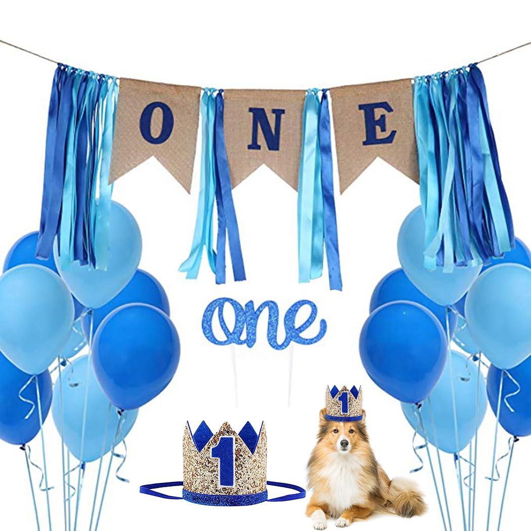 Decoración de cumpleaños para mascotas, Banner, corona para mascotas, gorra para pastel, globo para perro, 1 globo de cumpleaños, conjunto de globos creativos para fiestas