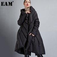 [EAM] 2021 New Auutmn Winter V-collar Long Sleeve Black Loose Big Size Irregular Warm Coat Women Down Jacket Fashion JD72001S