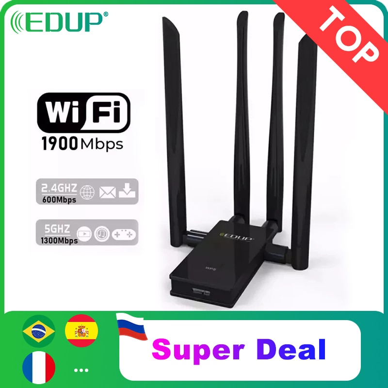 EDUP 5GHz USB واي فاي محول 1900mbps 802.11ac لمسافات طويلة جهاز استقبال واي فاي مع 4 * 6dBi هوائيات USB 3.0 محول إيثرنت لاسلكي