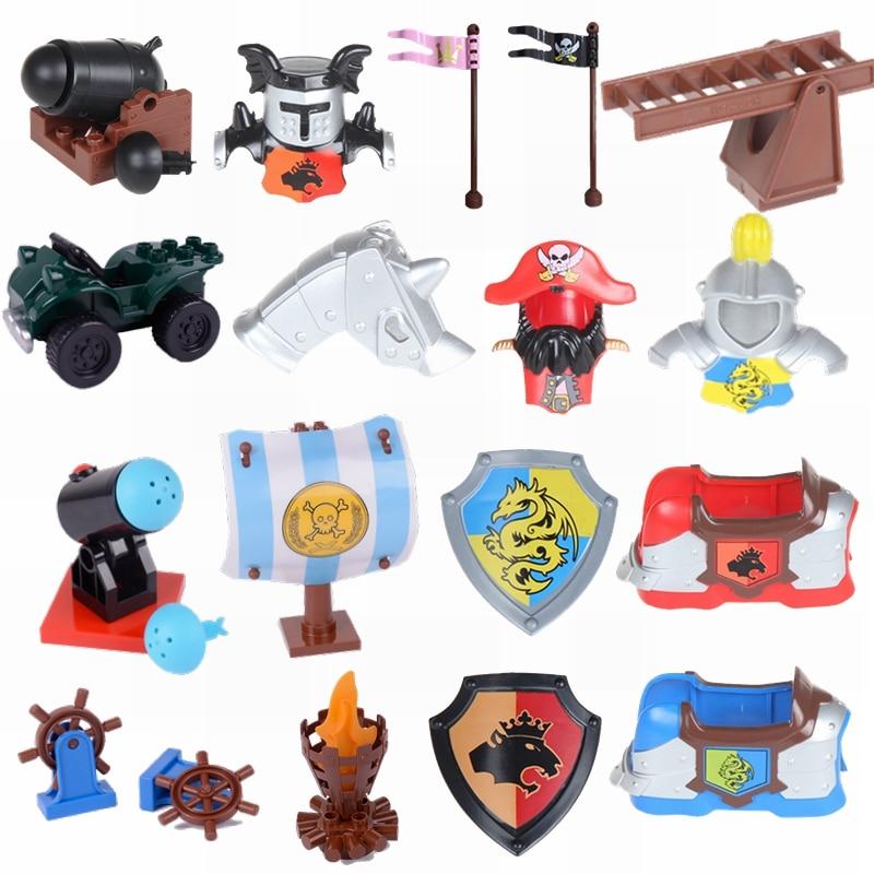 Diy Duplo Blocks Figures Accessories Armor Shield Pirate Captain Flag Sail Artillery Ladder Locking Duploed Compatible Kids Toys