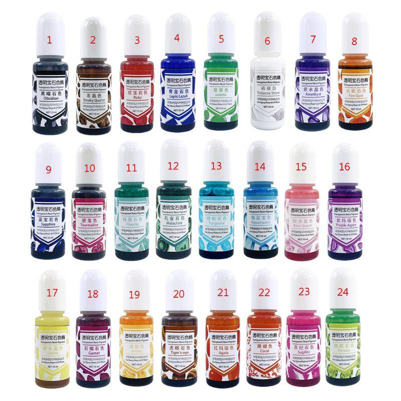 24 colores de resina epoxi UV gema líquido de pigmento resina tinte DIY arte de resina Producción de joyas para proyectos de arte de resina
