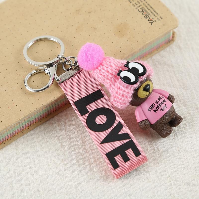 2019 Teddy Bear Key Chains Women Cute Bear Love Ribbon Keychain Key Rings Fashion Bag Car Charms Jewelry For Valentines Day Gift
