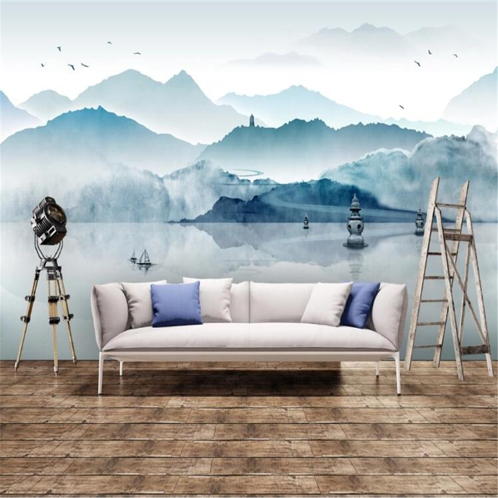 Mlofi custom wallpaper new Chinese style ink painting landscape background wall decoration mural