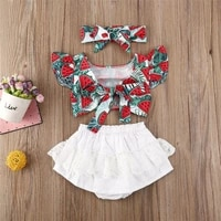 2020 summer girl set newborn baby girl clothes watermelon top shorts dress summer outfit with bow 0 24 months