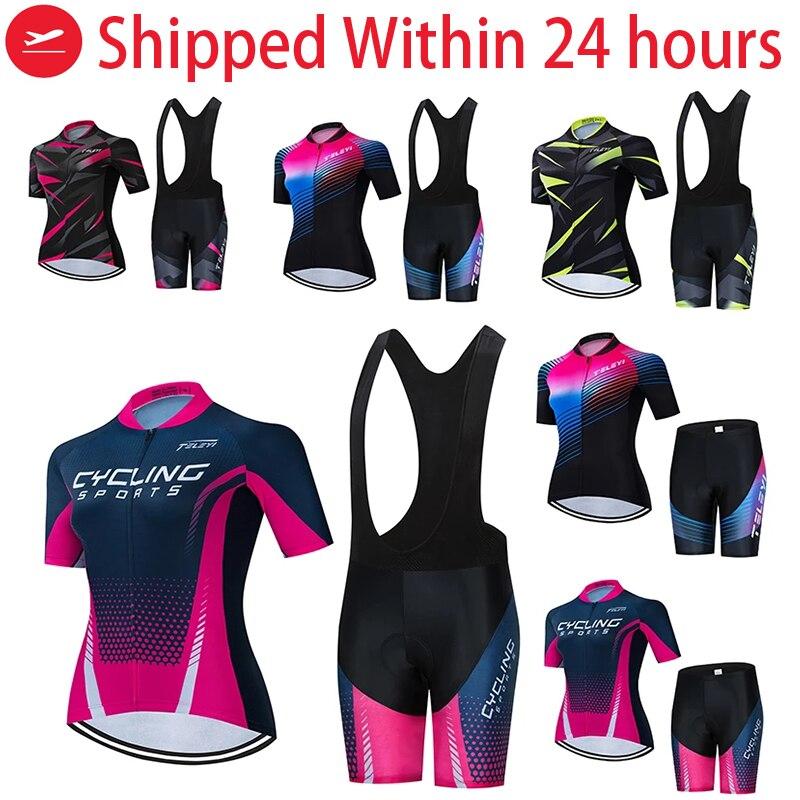 Señora ciclismo Jersey conjunto de manga corta mujeres ciclismo ropa moda ocio...