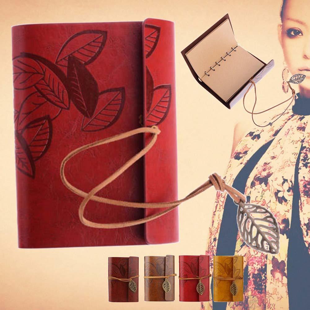 Retro Leather Vintage String Leaf Blank Diary Notebook Journal Sketchbook