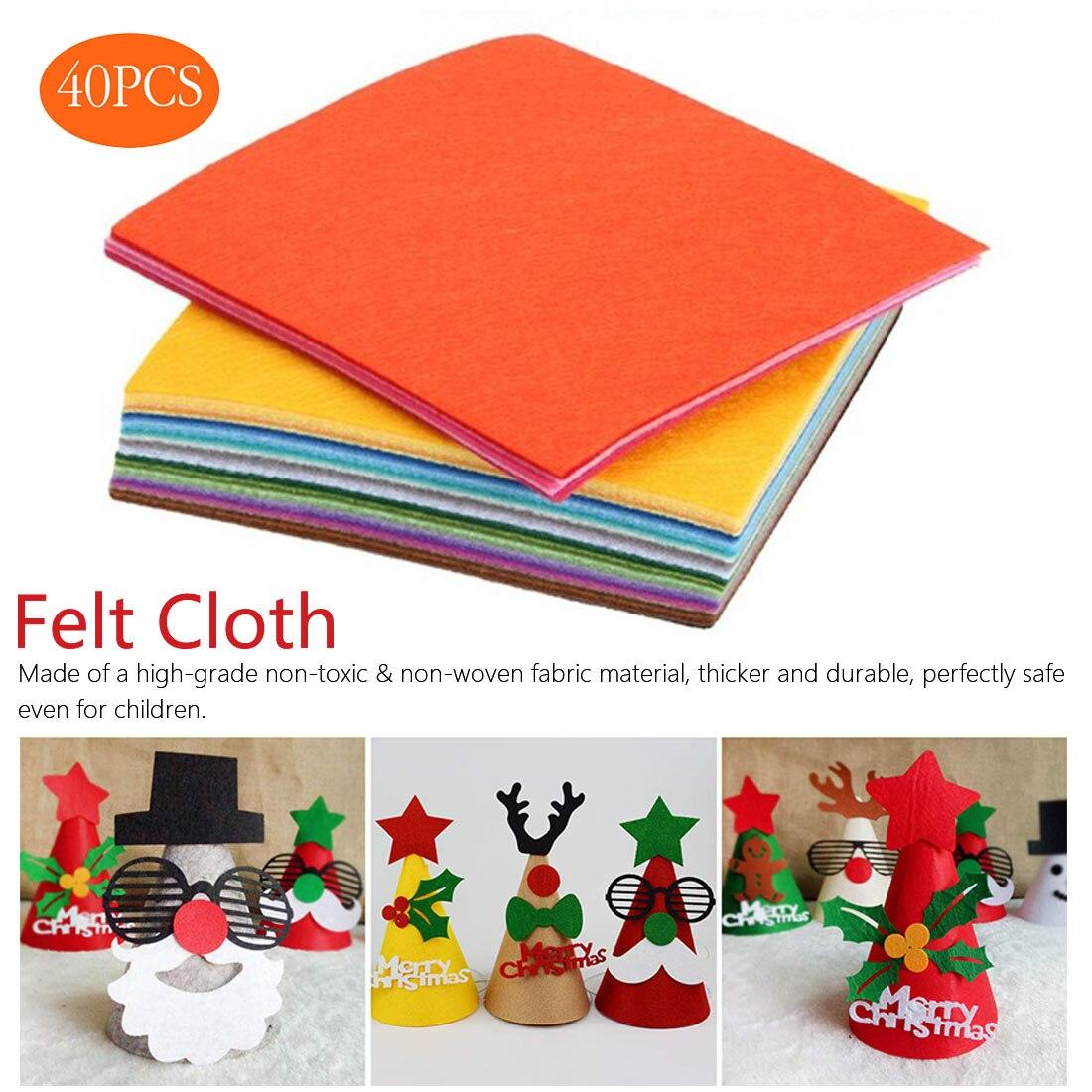 40 Uds. De tela no tejida DIY juguetes de regalo colorido Manual de fieltro tela poliéster mantel cuadrado artesanías de mano 30x30 cm/20x30 cm