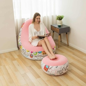 Lazy Sofa Inflatable Bean Bag Sofa Portable Living Room Furniture Garden Sofa Tatami Chair Bed with Pedal Thickening Flocking