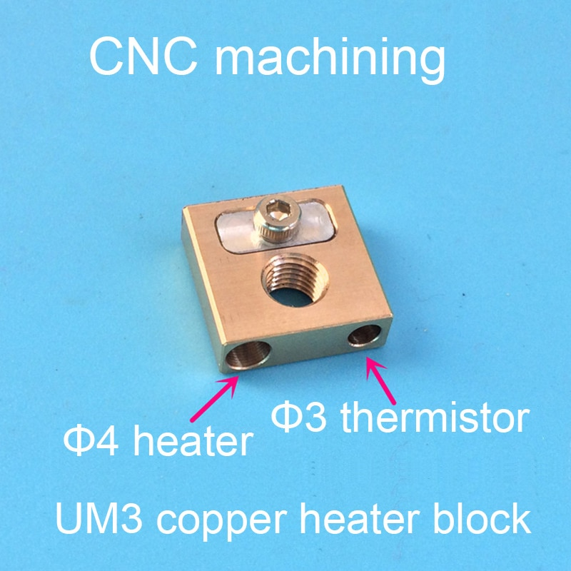 Ultimaker3 UM3 boquilla de latón bloque de calefacción de cabeza de cobre bloque de cobre 4mm bloque de calefacción 2101