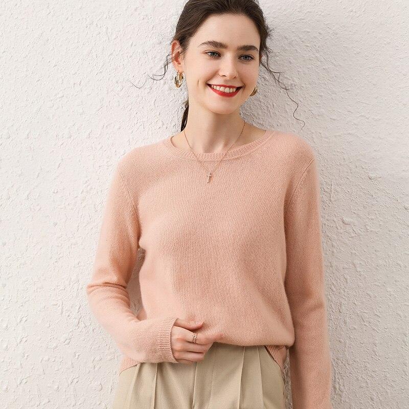 Women Sweater O-neck Long Sleeve Knitting Jumper 100% Cashmere Warm Women's Autumn Winter  Female Sweater Thickening Sweater enlarge