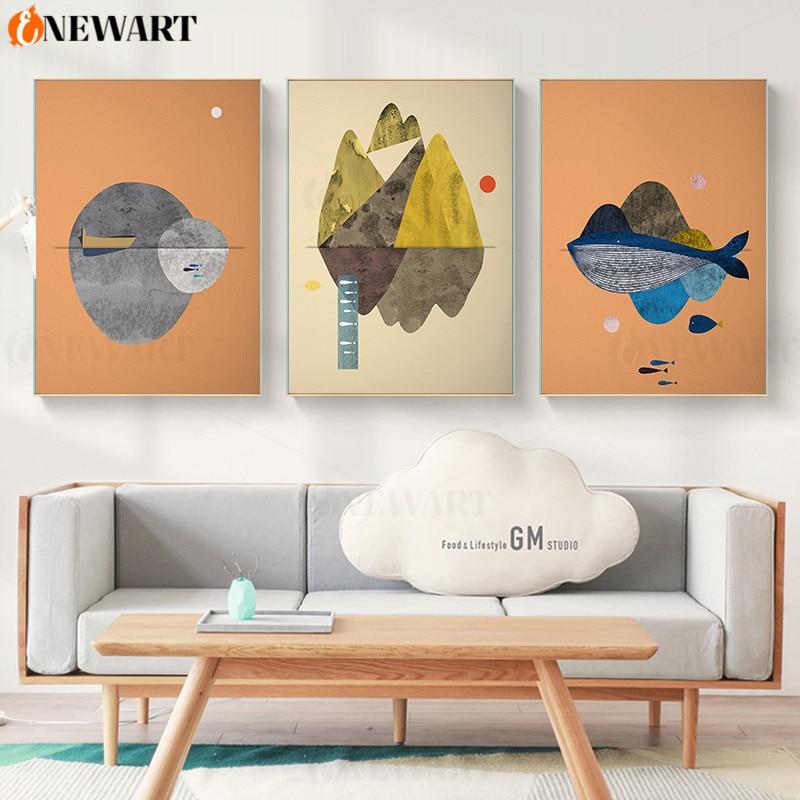 Conjunto de 3 montanhas posters e impressões arte da parede abstrata pintura em tela baleia escandinavo moderno sala de estar cartaz decoração da parede
