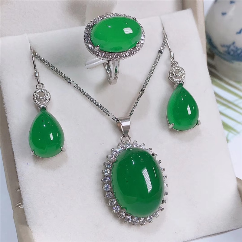 Jadery Natural Green Chalcedony Jade Jewelry Sets For Women 925 Sterling Silver Necklace/Earrings/Ring Jewelry bijoux femme 2019