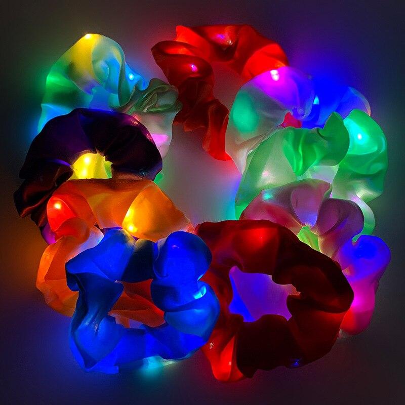 LED Luminous Hair Bands Scrunchies Women Girls Headwear Hair Rope Simple Wrist Band Rings Rubber Band Hair Accessories