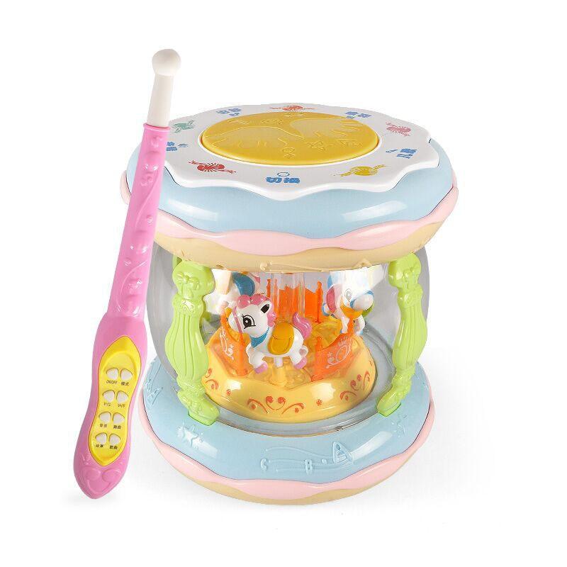 educacao infantil carrossel carregamento com microfone bebe mao tambor toque brinquedos