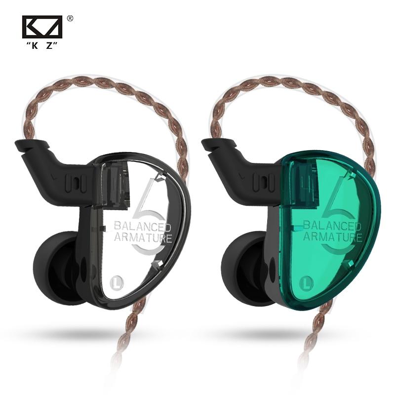 CCA KZ AS06 In Ear Earphones Monitor 3ba Balanced Armature Driver Hifi Bas Sport Headset Noise Cancelling Earbuds Silver