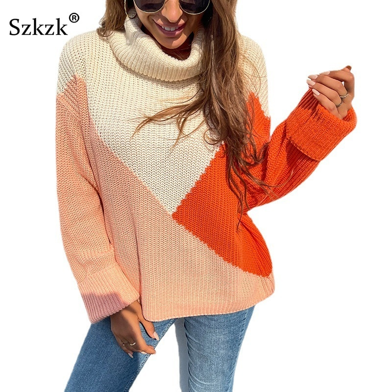 Patchwork Knit Sexy Sweater Loose Pullover Female Jumper Autumn Winter Long Sleeve Turtleneck Color Block Knitwear Sweaters Tops sexy bandage lace up sweater women round neck long sleeve oversized loose knit pullover jumper sweater knitwear tops outwear
