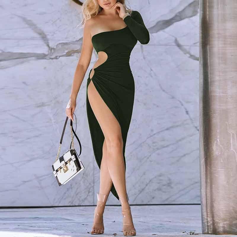 HUAN BEAUTY vestido Sexy de una sola pieza para mujer señora nueva ahueca hacia fuera el anillo sólido de manga larga Mujer Irregular partido vestido de moda HBD842