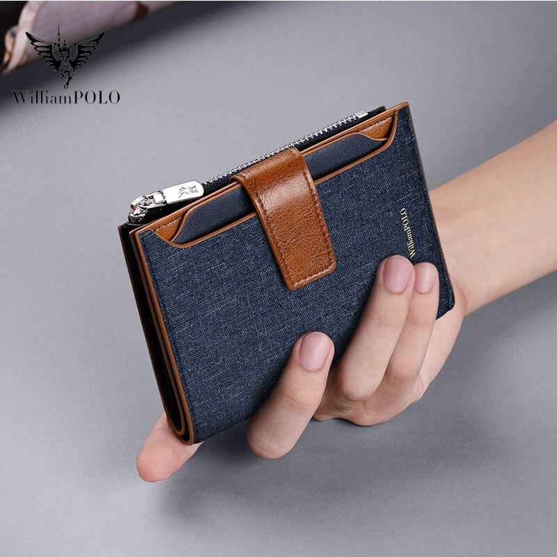 Bolsa de lona para hombre, Billetera informal con RFID, multifunción, nueva