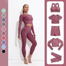Yoga Suits Fitness Sportswear Seamless Leggings Bra Workout Gym Clothes Tracksuit Set Women Summer E