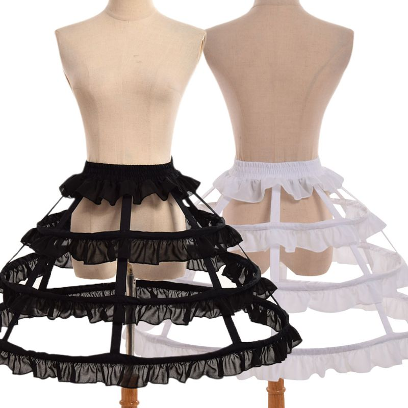 Women Girls Lolita Hollow Lotus Leaf Lace Bird Cage Fish Bone Skirt Cosplay Dress Skirt Petticoat Bride Wedding Dress Lining