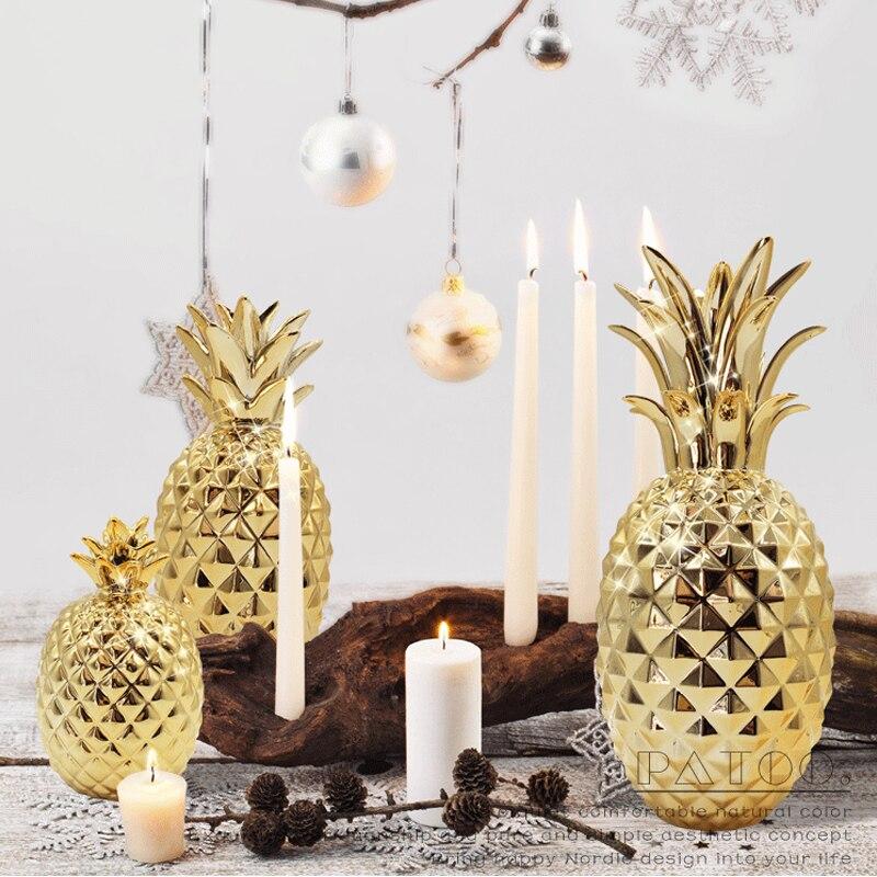 Figuritas de frutas Piña dorada de cerámica modernas, miniaturas de jardín de hadas, feng shui, escritorio, sala de estar, decoración del hogar