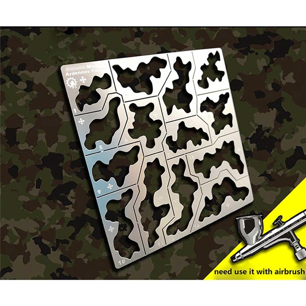 Plantilla de plantilla de camuflaje para bosque, lámina para aplicar aerosol, herramientas de modelo para tanque de carro 1/35 para Kit de modelo 1/100 Gundam Mecha