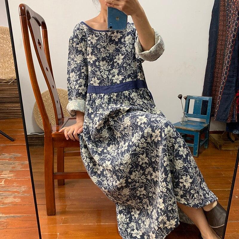 Real arte retro dupla camada fio de algodão padrão vestido saia longa gravata cintura para mostrar fina super longo grande pêndulo saia primavera