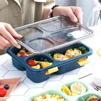 single layer microwave lunch box leak proof independent lattice bento lunch box for kids bento box portable food container