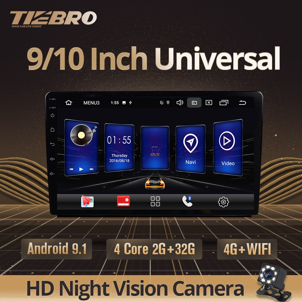 TIEBRO IPS 2 Din Android 9.0 Universal Car Radio GPS Navi Car Multimedia Video Player BT 4G Wifi Auto Stereo Audio DVD Player недорого