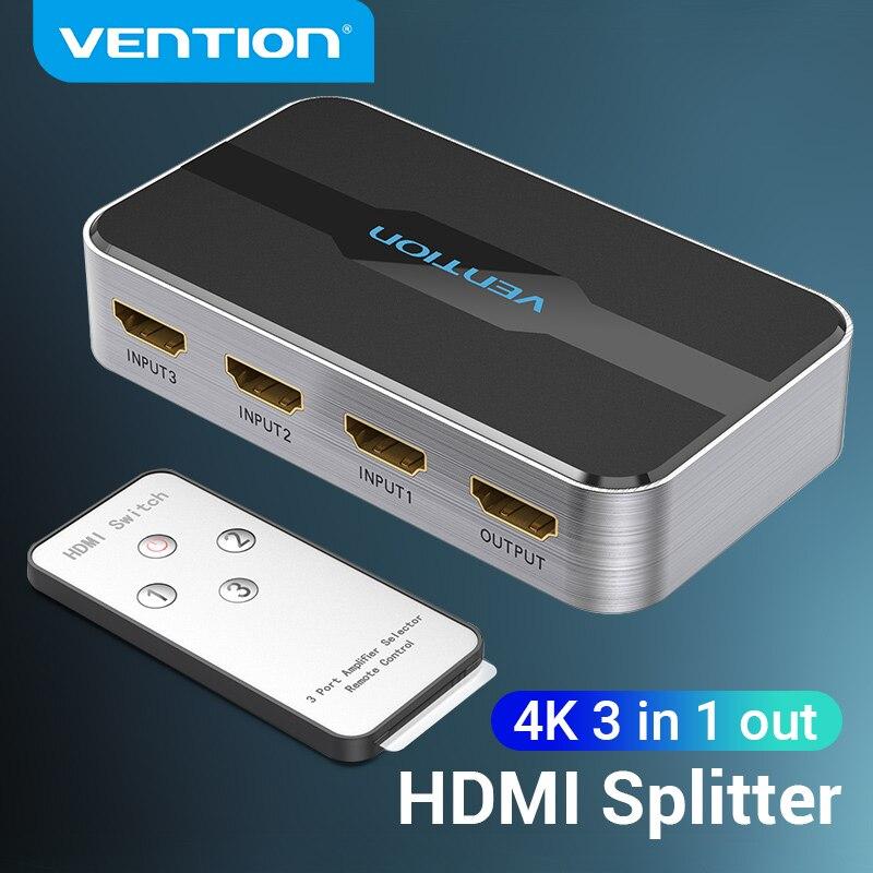 Vention-conmutador HDMI 2,0, 3 en 1, out 4K/60Hz, 3x, 1/5x1, HDMI, divisor...