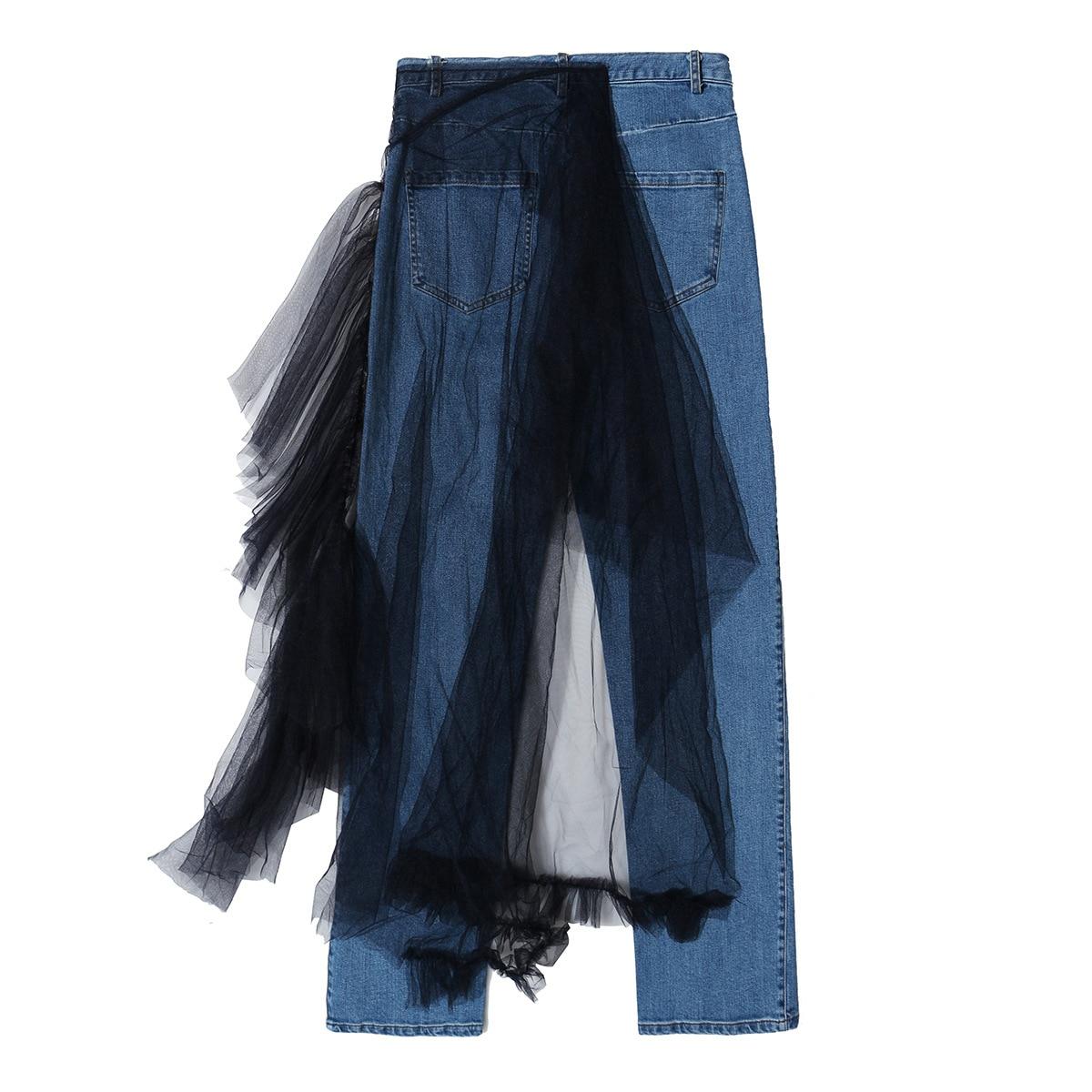 20 s/s irregular empalme personalizado empalme malla madera oreja borde jeans pequeños pies pantalones casuales 2020-04
