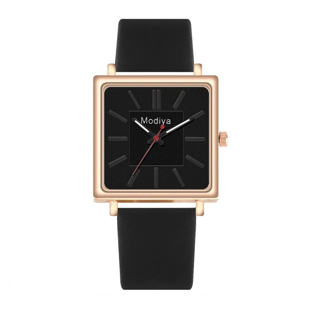 Las mujeres Plaza ver nuevos de las mujeres de la marca de cuero elegante cinturón analógico de cuarzo cuadrado reloj de pulsera de cuarzo reloj de mujer часы женские