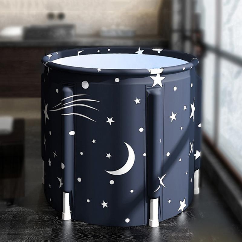 PVC Fabric Bathtubs Adult Folding Bath Barrel Household Plus Cotton Bath Barrel Large Tub SPA Bath Barrel Full Body Hot Tub enlarge