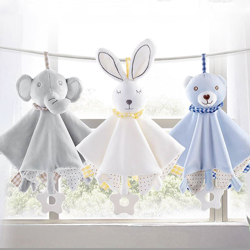 Bebé Animal relleno juguetes calmar apaciguar Toalla de felpa suave reconfortante juguete suave toalla suave Toalla de dormir del bebé juguetes de peluche de juguete