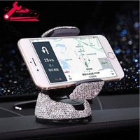 360 adjustable crystal auto phone mount universal rhinestone car stand phone holder car accessories for windshield dashboard