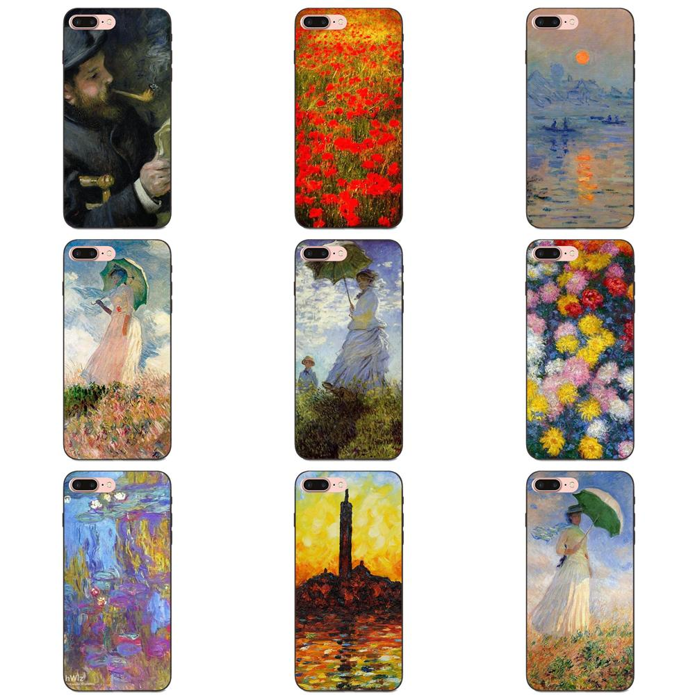 De silicona suave TPU cubierta negra pintura de Claude Monet impresionismo pintor para Apple iPhone 4 4S 5 5S SE 6 6S 7 8 Plus X XS X Max XR