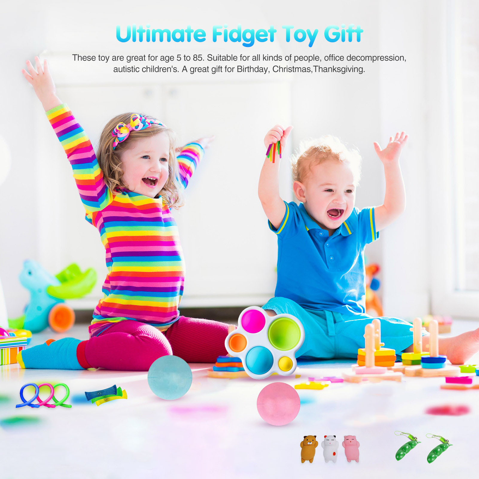 26 Pack Fidget Sensory Toy Set Stress Relief Toys Autism Anxiety Relief Needtoys Stress Pop Bubble Fidget Toys For Kids Adults enlarge