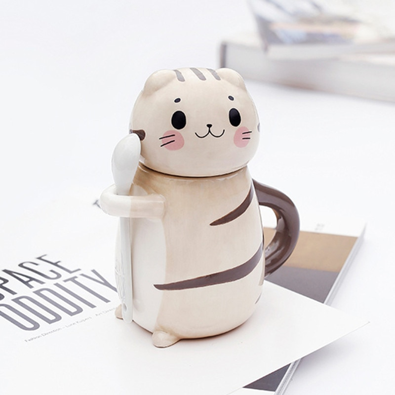 New Cute Cat Ceramics Coffee Mug With Spoon Creative Hand Painted Drinkware Milk Tea Cups Novelty Gifts