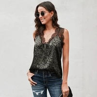lace patchwork sleeveless print v neck loose plus size tops women summer casual streetwear off shoulder sexy blouses
