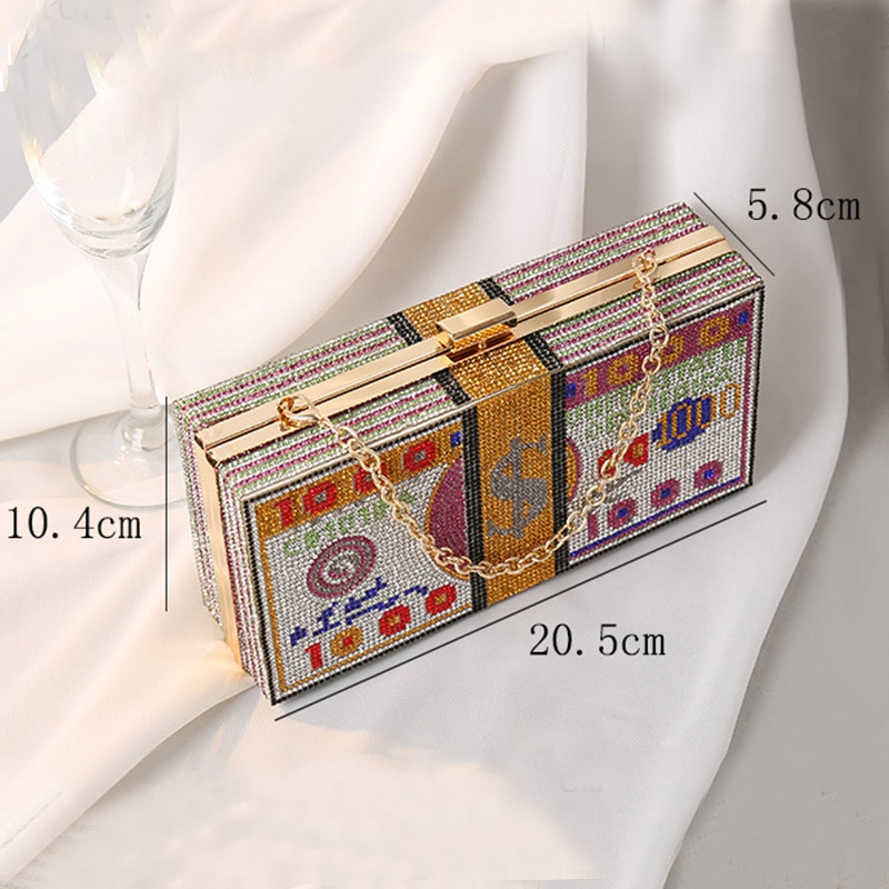 Crystal Women's Wedding Clutch Bag Luxury Designer Diamond Evening Bag Party Money Purses and Handbags Chain Shoulder Bag ZD1777
