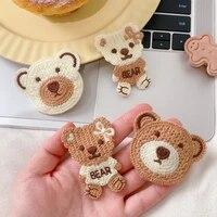 carerjew knitted woolen hairpin sweet cute bear bangs clip girls heart side broken hairpin hand woven hair accessories women