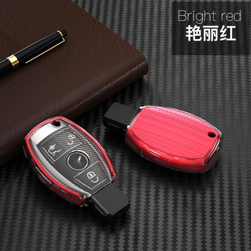 For Mercedes Benz W203 W204 W212 C180 GLK300 CLS CLK CLA SLK C S E Class Remote Smart Car key Case Cover TPU key Set Bag