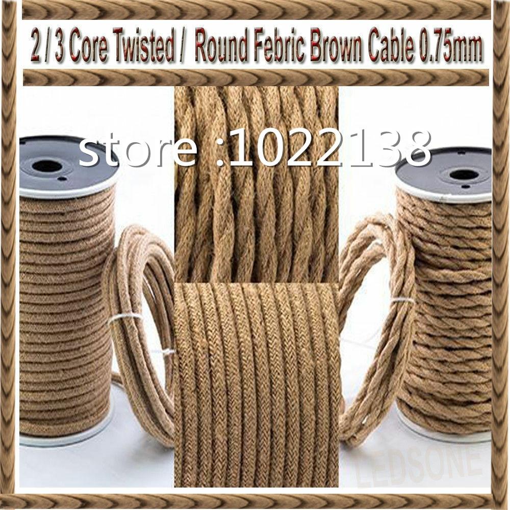 3m 5m 10m 2 Core/3 Core 0,75 mm2 cuerda de cáñamo Vintage, Cable trenzado de lámpara Retro, Cable trenzado para luces de bricolaje