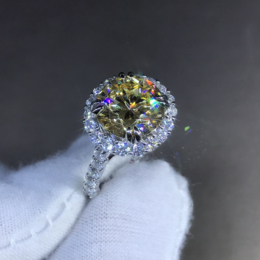 Wong Rain 925 Sterling Silver Round Cut 4 CT D Created Moissanite Gemstone Engagement Customized Ring Fine Jewelry Wholesale