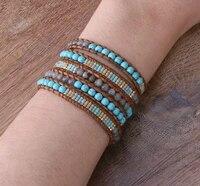 kelitch 5 strands wrap miyuki beaded bracelet stone women jewelry leather cuff friends handmade friendship bracelets