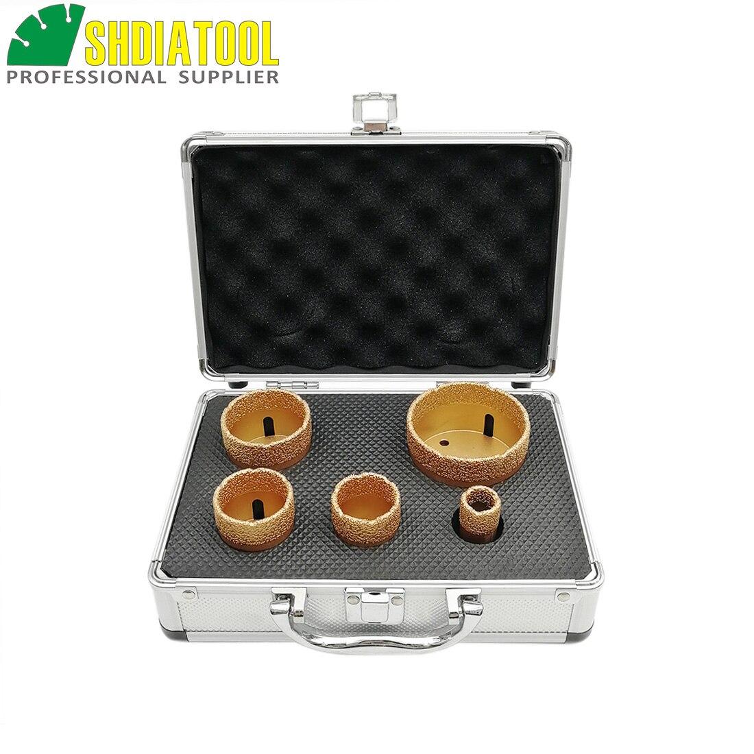 SHDIATOOL 1set M14 Vakuum Gelötete Diamant Bohren Bits Mit Box Dia 20 + 35 + 40 + 50 + 68mm Granit Marmor Keramik Loch Sah Core Bits
