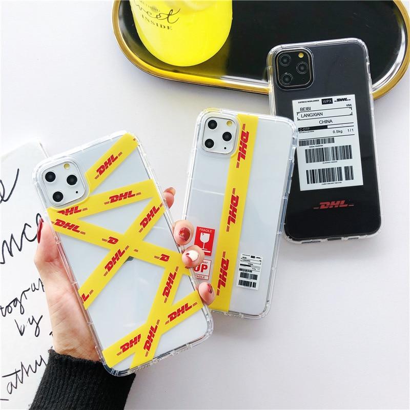 Funda de diseño de lujo transparente con Letras amarillas para iphone XS 11 Pro MAX XR X 7 8 6 6S plus a la moda a rayas funda blanca Telefon kilifi Etu